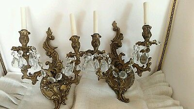 "PAIR OF OLD SPAIN ""FRENCH ROCOCO STYLE"" BARBOLA ROSE PRISM antique sconcesLAMPS"