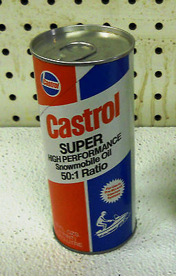 * VINTAGE * CASTROL 8 oz. SUPER SNOWMOBILE OIL 50:1 RATIO NEW UNOPENED FULL NOS