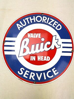 """Buick Authorized Service Valve In Head Porcelain Metal Sign 11 3/4"""""""