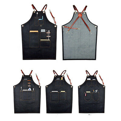 Denim Bib Apron Leather Strap Barista Baker Bartender BBQ Chef Work Uniform Cook