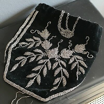 Antique Victorian drawstring  Cut steel Beads French drawstring beaded Purse