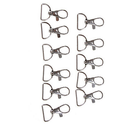 10pcs/set Silver Metal Lanyard Hook Swivel Snap Hooks Key Chain Clasp Clips Fast