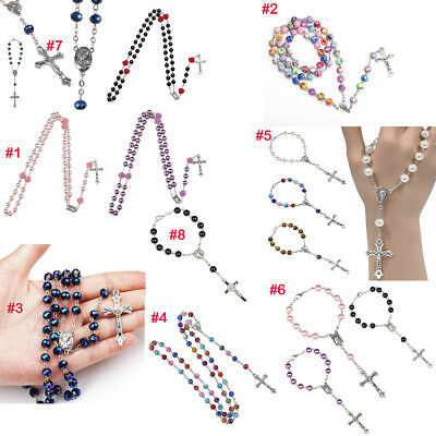 Pearl Catholic Holy Rosary Beads Christian Gifts The Cross Necklace