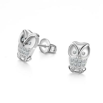 White Gold Plated Cz Gems Cute Owl Stud Earrings Women Girls Fashion Jewelry  BS