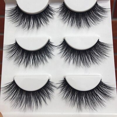 3 Pairs/Box Winged Mink Soft Natural Cross Long Thick Eye Lashes False Eyelashes