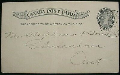 Canada 1896 UX11 Post Card, w/ 3-Ring HAMILTON cancel  to Glencairn, ON - ph12