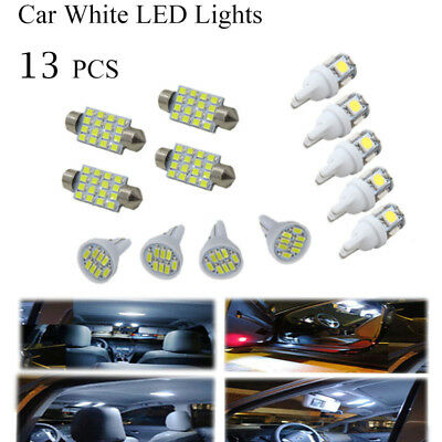 Car LED Lights White 13Pcs Kit for Stock Interior & Dome & License Plate Lamps