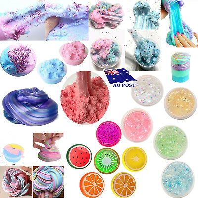 Rainbow Unicorn Fruit Mermaid Cloud Slime Clay Mud Floam Slime Stress Relief Toy