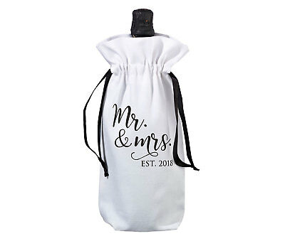 MR & MRS WINE BAG EST 2018 year printed black on white wedding favour gifts NEW