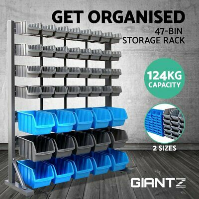 Wall Mounted Rack Storage 47 Bin Organiser Shed Work Bench Workshop Garage
