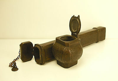 Antique Ottoman Empire Turkish Pen Case divid Inkwell encrier Tughra Sultan Mark