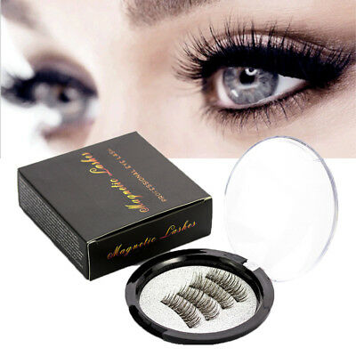 4Pcs Magnetic False Eyelashes 6D Handmade Black Reusable Soft Natural Eye Lashes