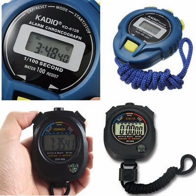 Waterproof Digital LCD Stopwatch Chronograph Timer Counter Plastic Sports Alarm