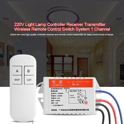 220V Light Controller Receiver Transmitter Wireless Remote Control Switch System