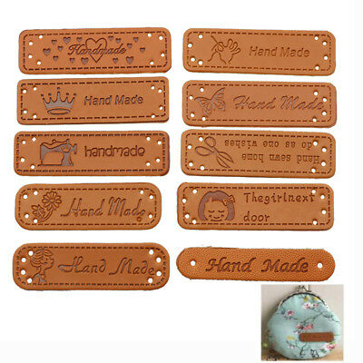 12pcs Vintage Tags PU Leather Labels Sewing Handcraft DIY Making Accessories