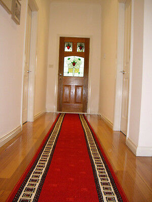 Hallway Runner Hall Runner Rug Modern Red 4 Metres Long FREE DELIVERY