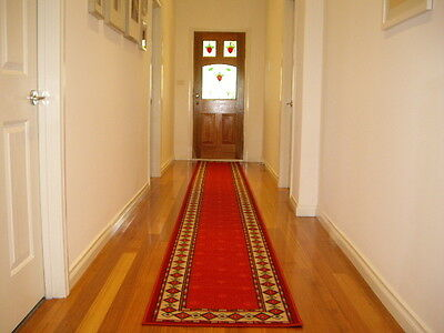 Hallway Runner Hall Runner Rug Modern Red 5 Metres Long FREE DELIVERY