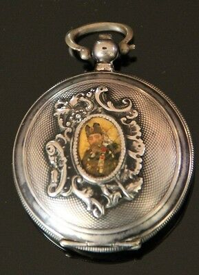 Antique Turkish Ottoman Islamic Portrait Sultan Abdulmecid Tugra Pocket Watch