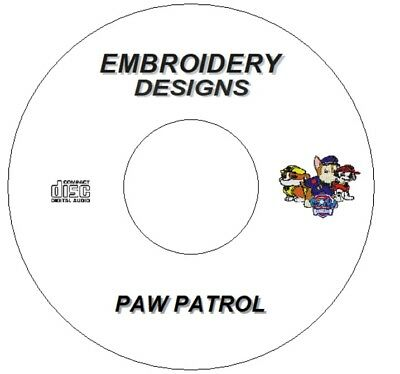 New Embroidery Designs Cd / Dvd Paw Patrol Characters X7 Brother Janome Singer