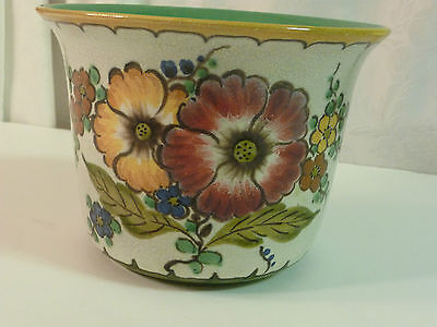 Vintage Royal Gouda Zuid Holland Handpainted Floral Planter Cachepot Vase Bowl