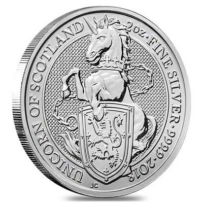 2018 Queens Beasts UNICORN of SCOTLAND 2 oz .999 Silver coin in capsule.