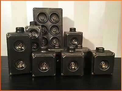 Vintage Industrial Cast Iron Light Switches Metal Brass Switch 6 Gang 2 1 Set