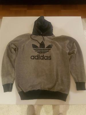 Adidas original vintage hoodie hooded sweater trefoil 70s / 80s s m made in USA