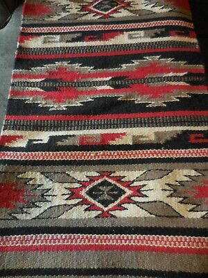 Vintage Southwest Mini Wall Hanging Rug NICE Red Black off White NM Sante Fe