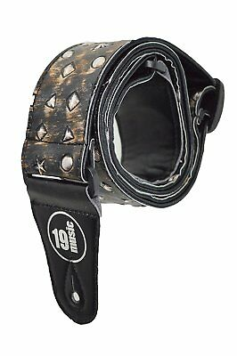 Embossed 3D Stars Hearts Metal Gothic Acoustic Electric Adjustable Guitar Strap