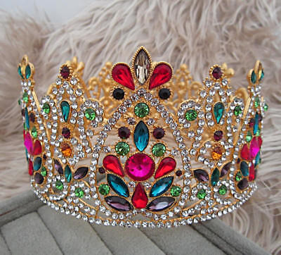 Large Ruby Red Crystal Gold King Wedding Prom Party Crown Bridal Pageant Tiara