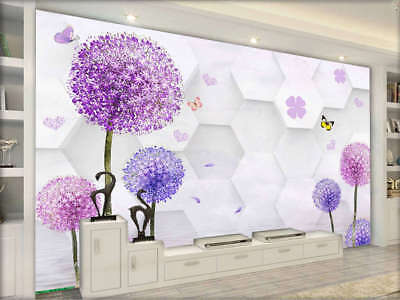 Purple Focal Trees 3D Full Wall Mural Photo Wallpaper Printing Home Kids Decor