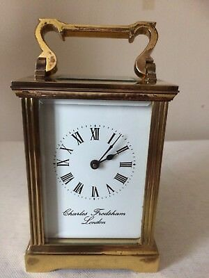 Vintage Brass Carriage Clock by Charles Frodsham of London Working
