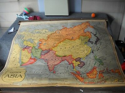 Vintage pull down map of Asia from the 1930's
