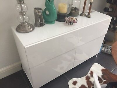 Ikea Besta Sideboard White Gloss 150 00 Picclick Uk