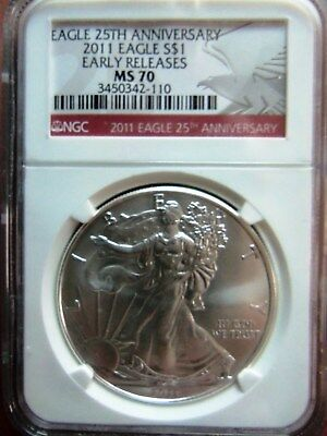 2011 1 Oz American Silver Eagle Coin - NGC MS70 Red Early Releases Label
