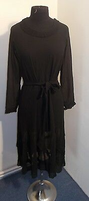 WONDERFUL FRENCH VINTAGE 1930s / 40s SHEER CREPE GEORGETTE   DRESS UK SIZE 10