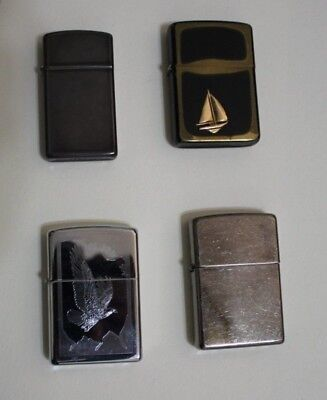 Lot of 4 Zippo Lighters - Modern and Vintage Slim, Eagle, Patriotic, Nautical