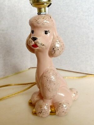 "Vintage Pink French Poodle Lamp, 10.5"" 1950's Electric Gold trim, Ceramic"
