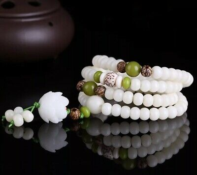 Malasation White Jade 108 Mala Beads Bracelet Necklace Lotus Elastic Meditation
