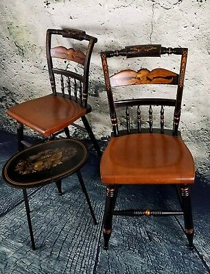 Set of 2 Genuine Hitchcock Chairs EAGLE Design + Candle Table - EXTRAORDINARY