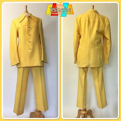 Vintage 70s Men's Yellow Polyester Leisure Suit Society Casuals