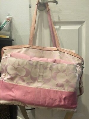 Coach Pink Monogram Diaper Bag Purse Changing Pad