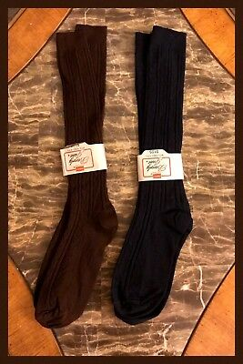 2 Vintage Socks HANES Stretch Nylon Blue Brown Hippy Soft 1970s Womens 8 - 9.5