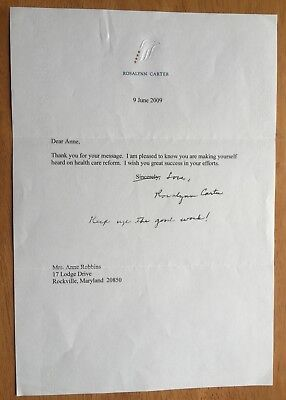 First Lady Rosalynn Carter Typed Letter Signed (TLS)