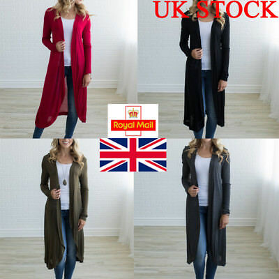Womens Long Sleeve Loose Cardigan Stretch Thin Knitted Casual Open Sweater Tops