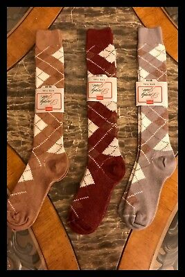 3 Womens Socks HANES Argyle Nylon Orlon Brown Burgondy Vintage 1970s Sz  7 - 8.5