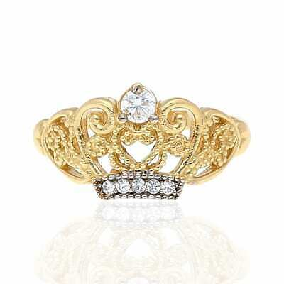 10k Yellow Gold Created Diamond Filigree Crown Cocktail Ring