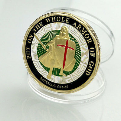 Gold Plated Put on the Whole Armor of God Commemorative Challenge Coin Token New