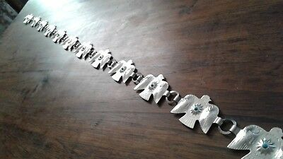949  Tribal Silver Metal Belt of Falcon or Thunderbird, Etched on 13 Sections
