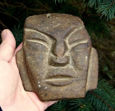 Pre Columbian Carved Stone Face Mask Artifact Effigy